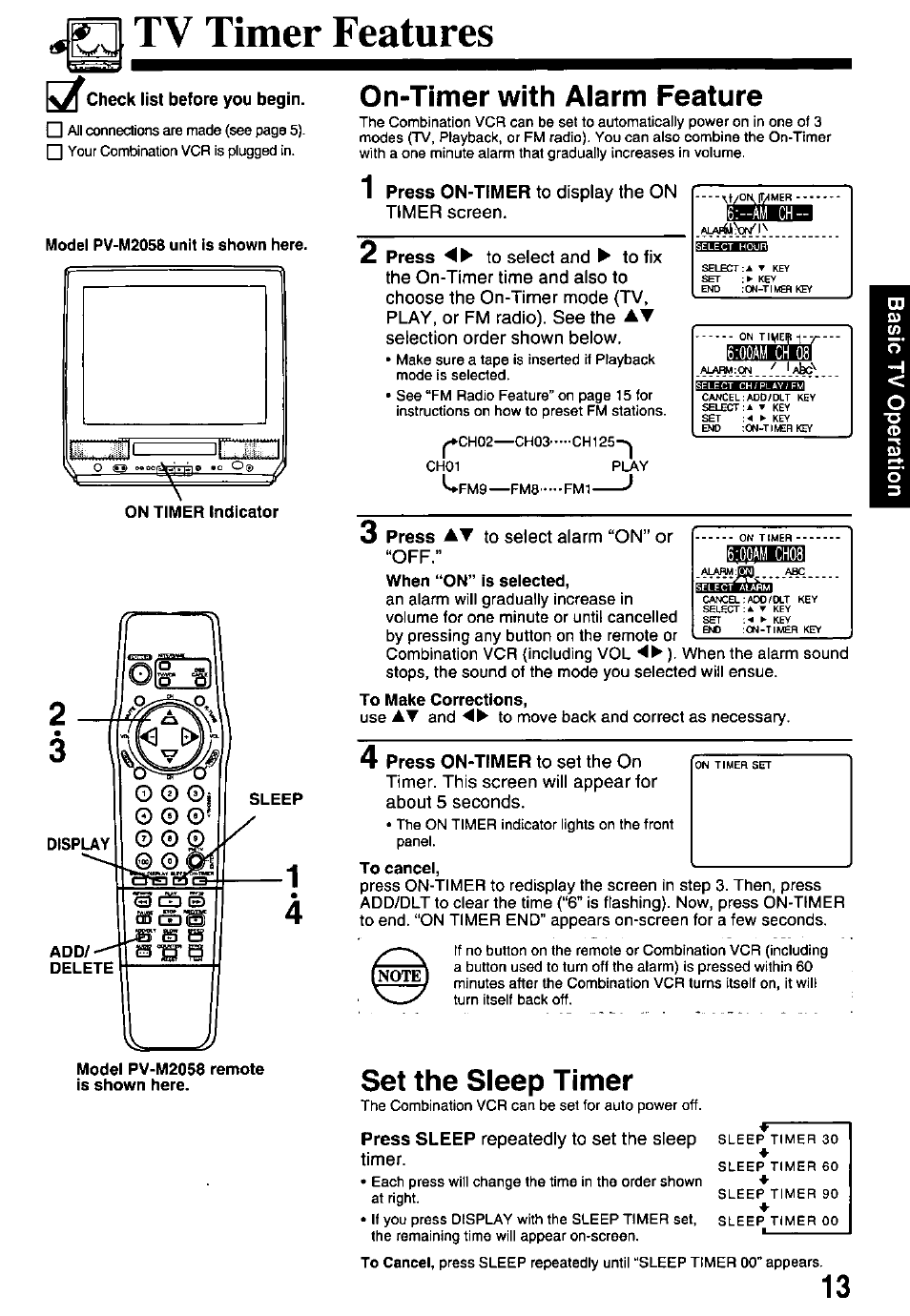 tv timer features kx check list before you begin on timer with rh  manualsdir com Panasonic 4 Head OmniVision VCR Panasonic Omnivision VCR DVD
