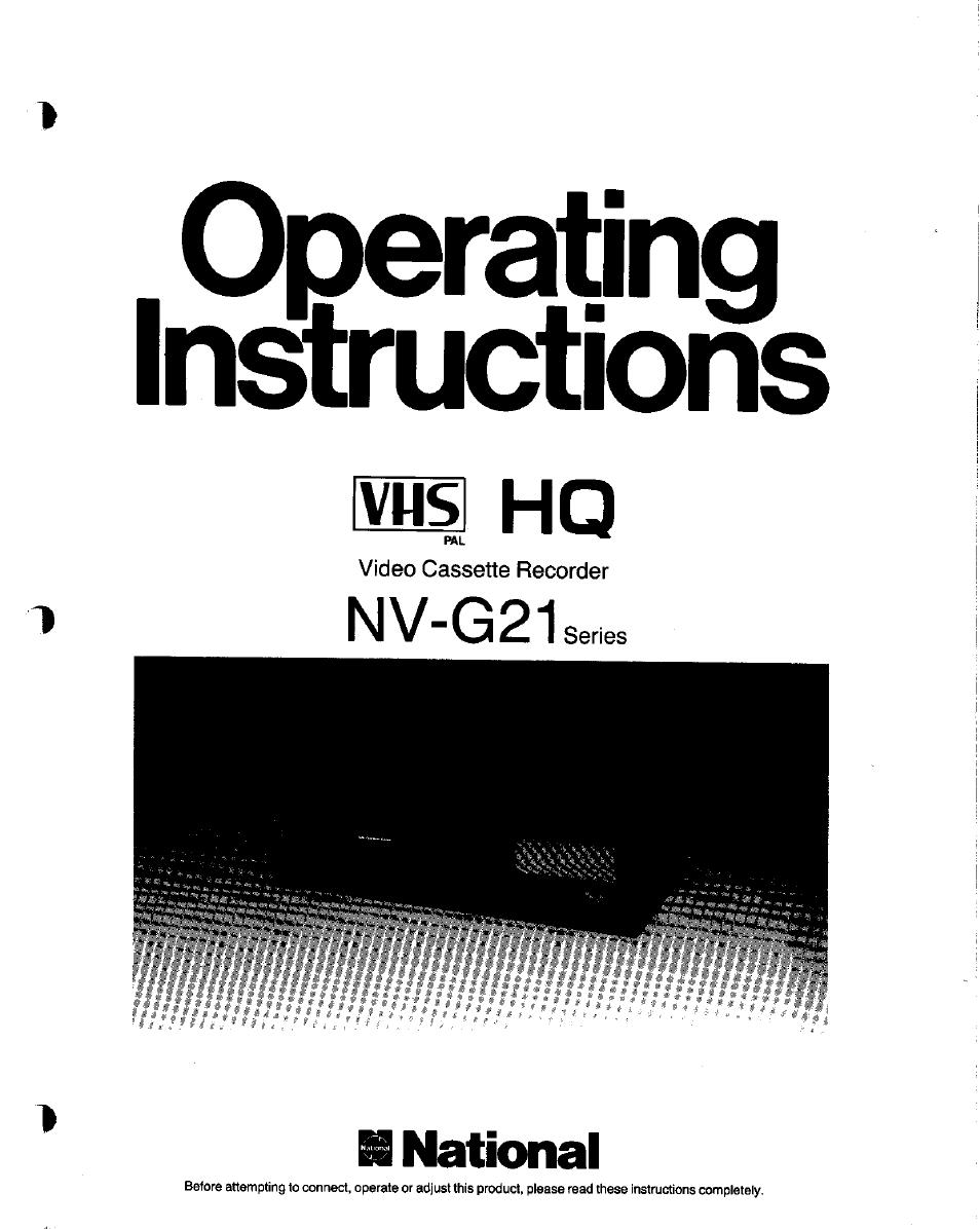 Panasonic NV-G21 User Manual | 32 pages