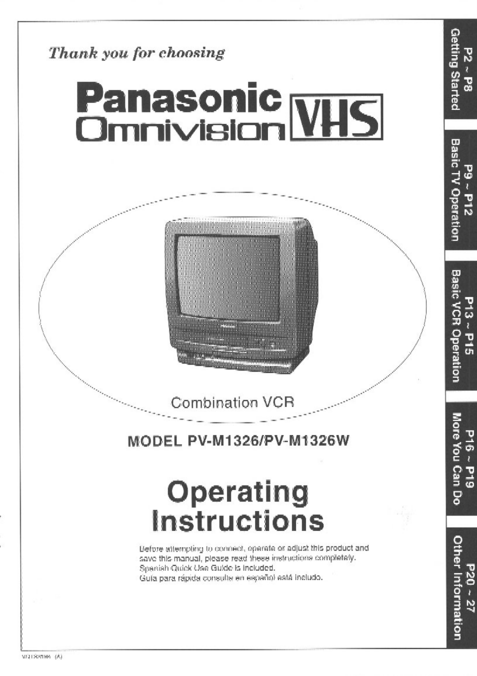 panasonic vcr pv m1326 user manual 28 pages also for vcr pv m1326w rh manualsdir com panasonic vcr dvd combo manual panasonic vcr service manual