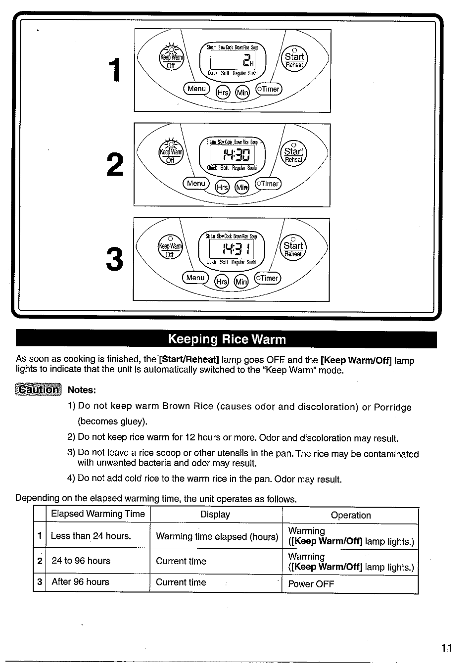 Keeping rice warm | Panasonic SRMM10NS User Manual | Page 11