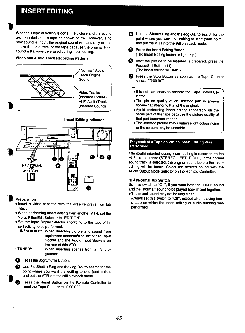 insert editing preparation hi fi normal mix switch panasonic nv rh manualsdir com Operating Manuals Panasonic Phones Panasonic Owner's Manual