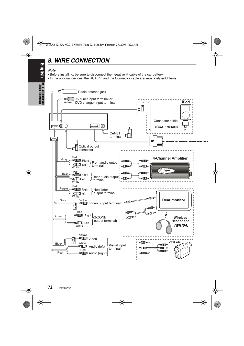 Wire connection, English | Clarion VRX766VD User Manual ... on