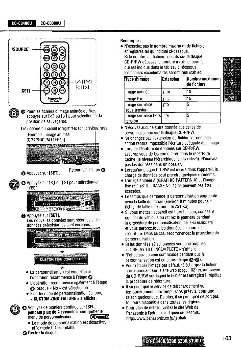 cq-c8400u, remarque, p1=e | panasonic cq-c8300u user manual