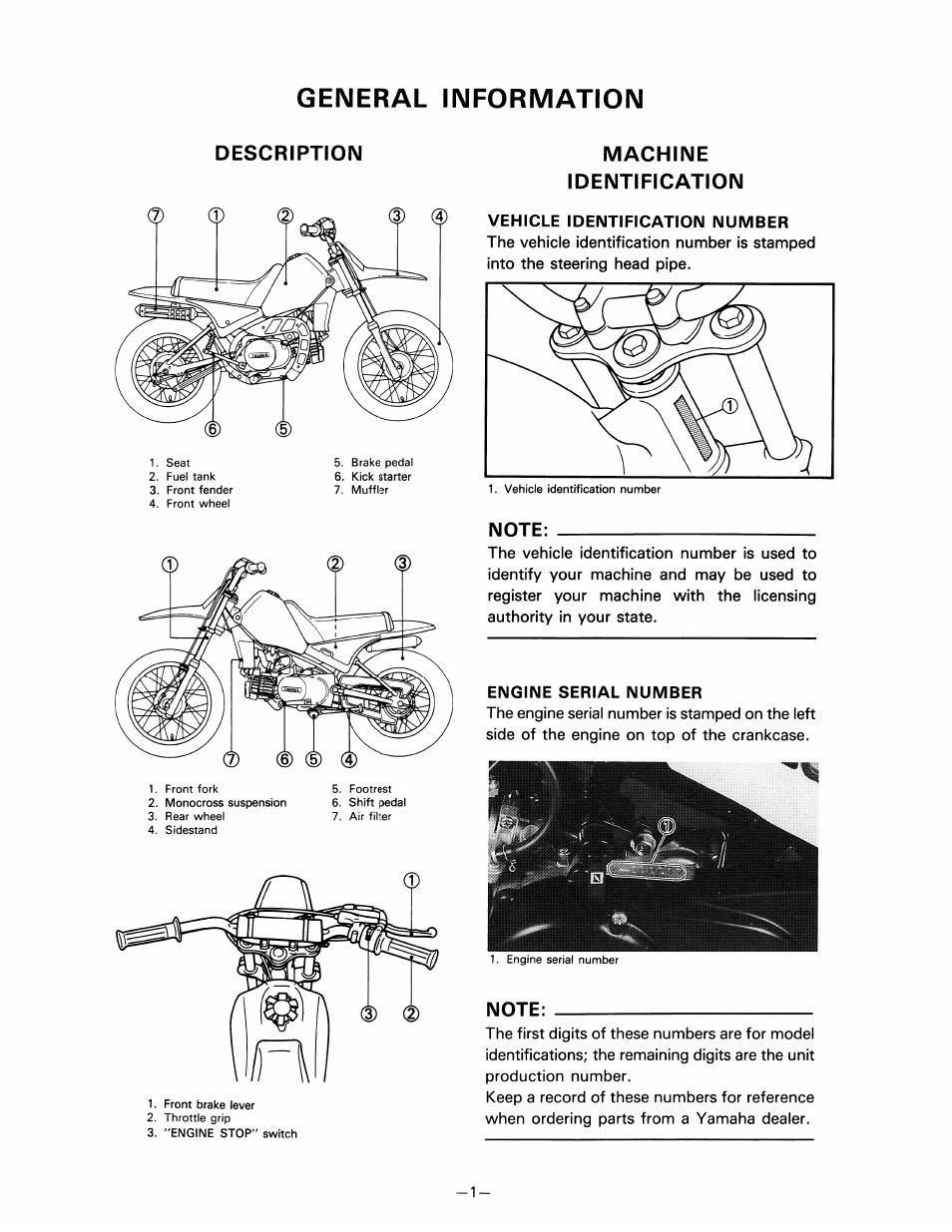 General information, Machine, Identification | Yamaha pw80 User