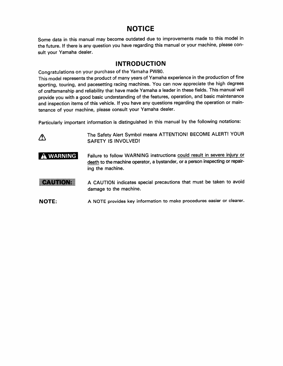 ... service manual Array - introduction notice yamaha pw80 user manual page  3 64 rh manualsdir com