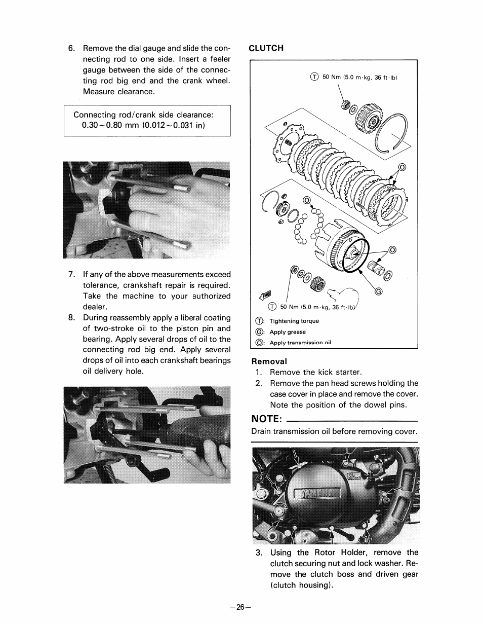 Removal, Note | Yamaha pw80 User Manual | Page 38 / 64