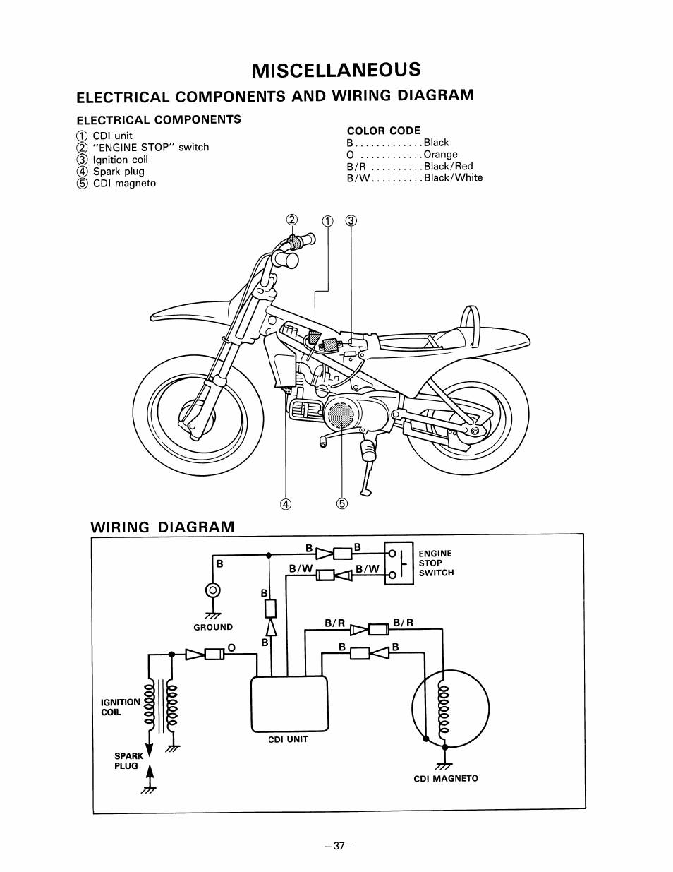 Miscellaneous Electrical Components And Wiring Diagram Home Red Black White Yamaha Pw80 User Manual Page 49 64