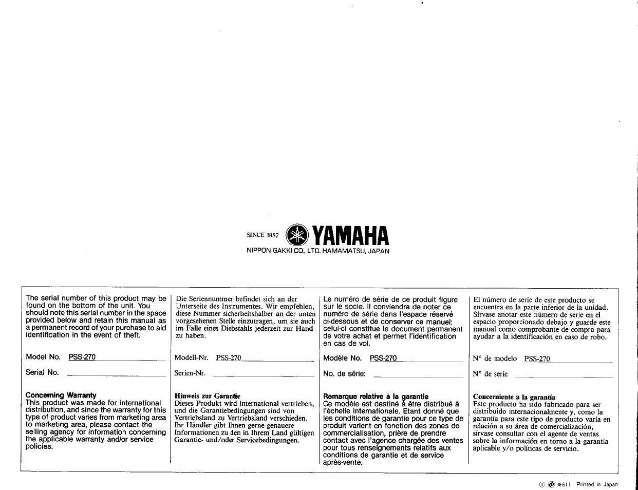 yamaha yamaha pss 270 user manual page 16 16 original mode rh manualsdir com yamaha pss 270 service manual yamaha psr 270 manual pdf
