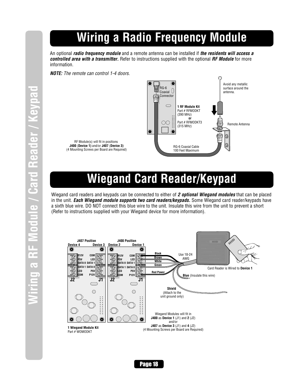 Wiring A Radio Frequency Module Wiegand Card Reader Keypad Page 18 Chamberlain Diagram J1