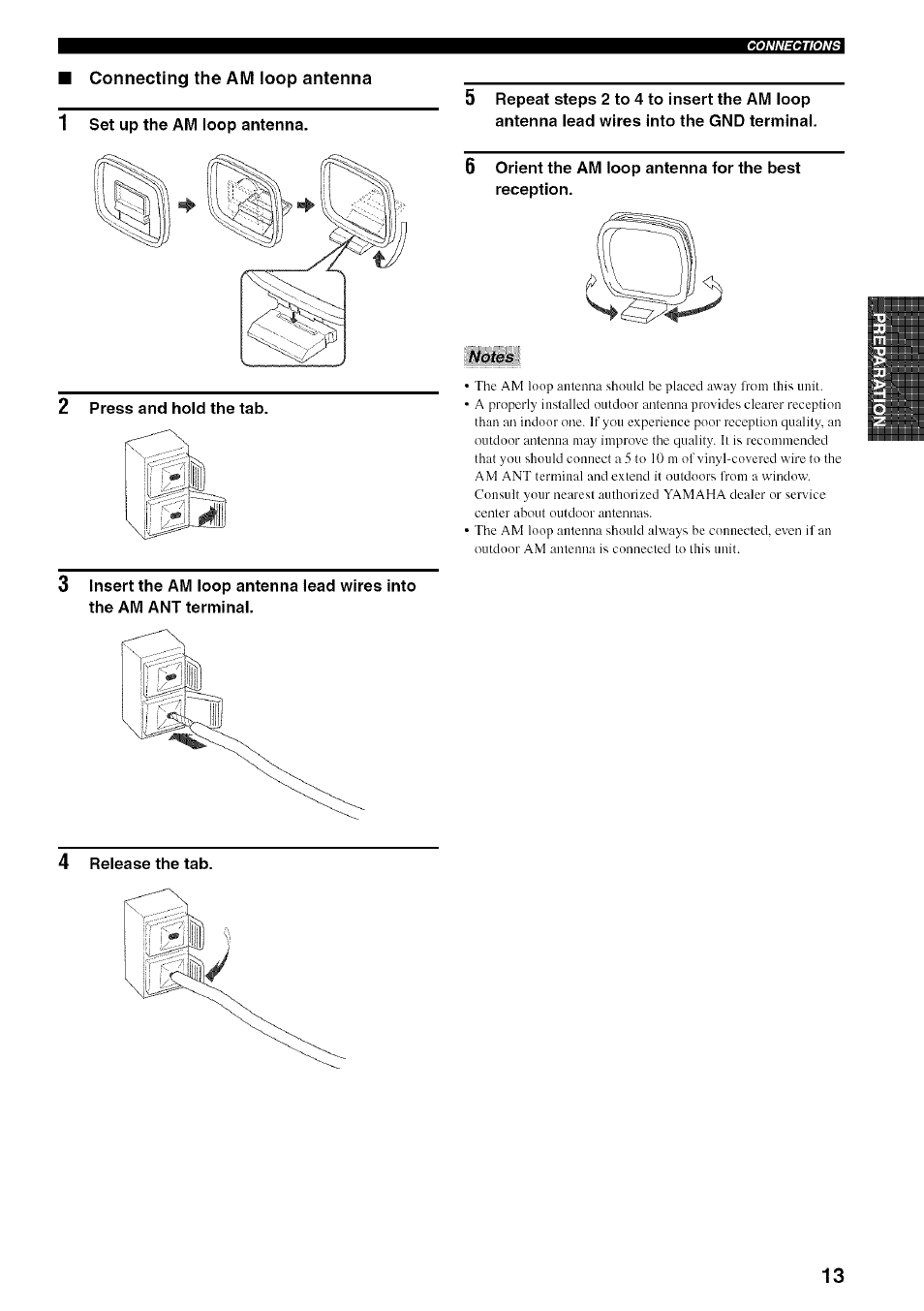 2 press and hold the tab, Orient the am loop antenna for the best  reception, Notes | Yamaha RX-497 User Manual | Page 17 / 53