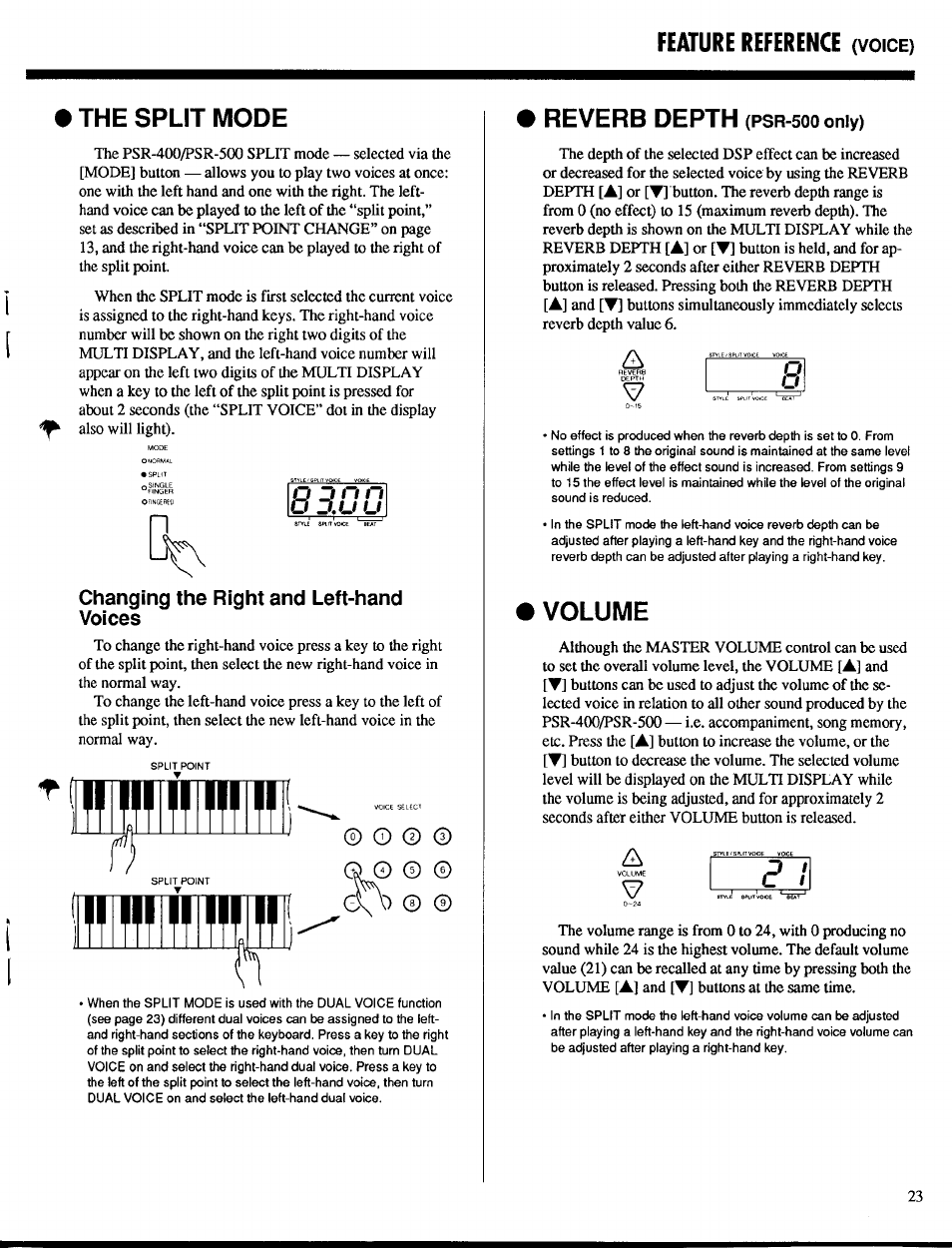 The split mode, Changing the right and left-hand voices, Volume | Feature