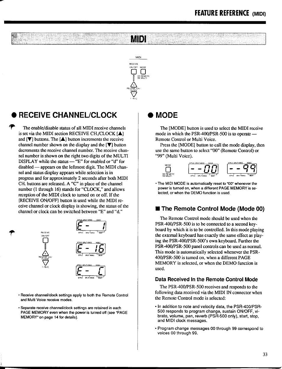 Midi, Receive channel/clock, Mode | The remote control mode (mode 00