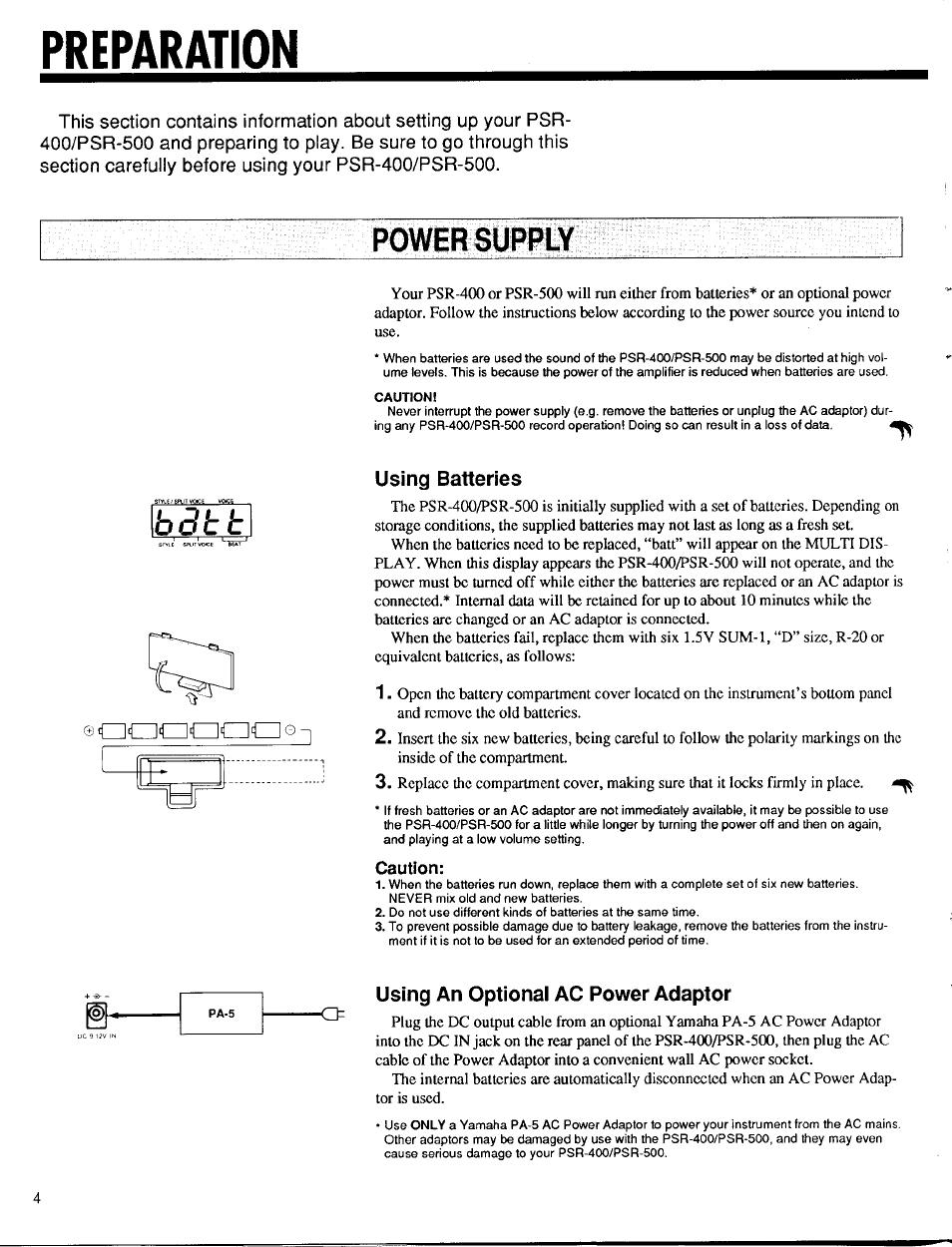 Preparation, Power supply, Using batteries | Yamaha PSR-400 User Manual |  Page 6 / 47