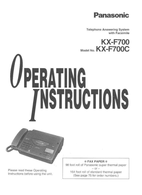 panasonic kx f700 user manual 86 pages rh manualsdir com Panasonic Kx Phone Manual Panasonic Kx 500 Bateries