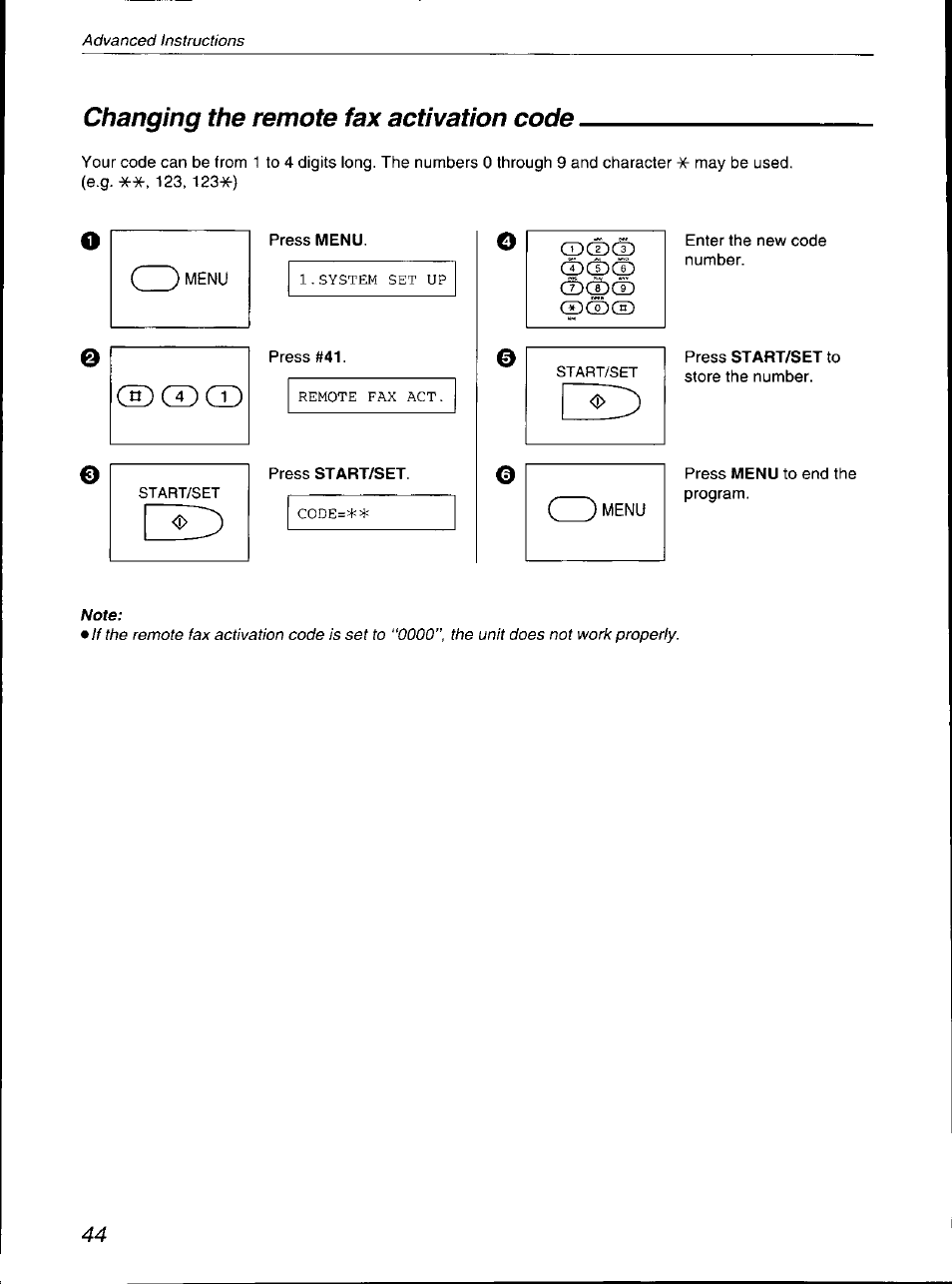 changing the remote fax activation code panasonic kx f700 user rh manualsdir com Panasonic Kx 390 B Manual Panasonic Kx Cordless Phone Manual