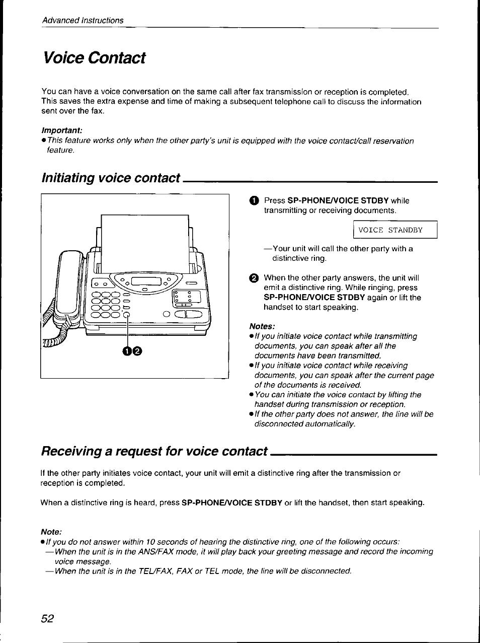 voice contact initiating voice contact receiving a request for rh manualsdir com Panasonic Kx Phone Manual Panasonic Kx Cordless Phone Manual