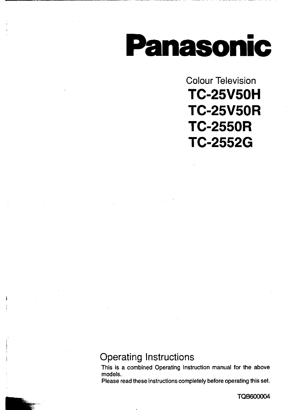 Panasonic TC-25V50H EN User Manual | 28 pages | Also for: TC-2550R