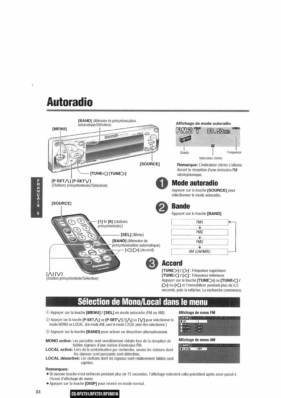 Autoradio, Sélection de mono/local dans le menu, Mode autoradio   Bande,