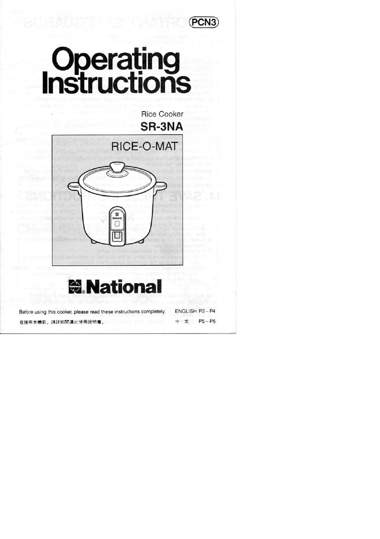 panasonic rice o mat sr 3na user manual 8 pages also for sr 3na s rh manualsdir com Rice Cooker Instruction Manual national rice cooker manual srmm10ns