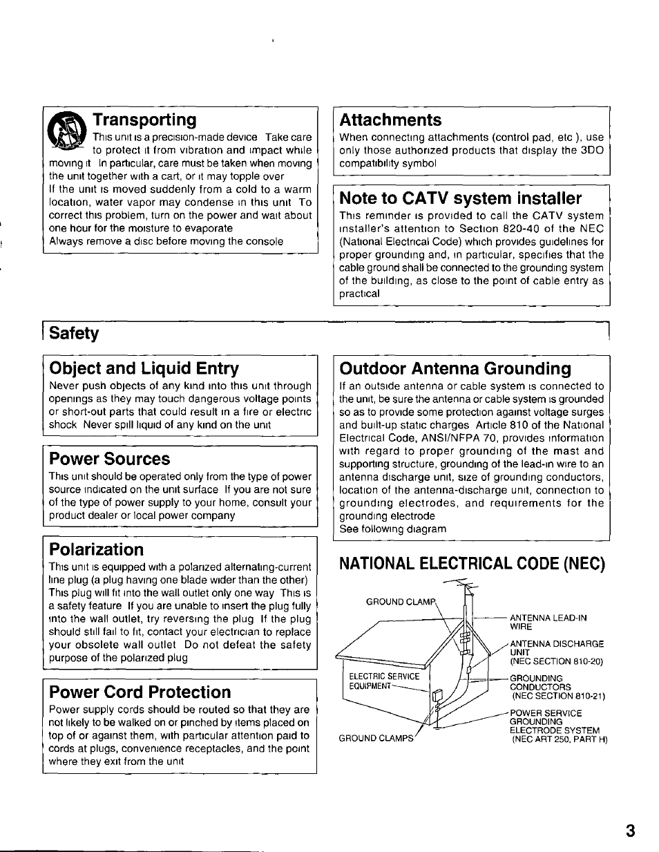 Transporting Attachments Note To Catv System Installer Panasonic Electrical Plug Safety Symbol What You May Know As A Power 3do Interactive Multiplayer Fz 10 User Manual Page 3 20