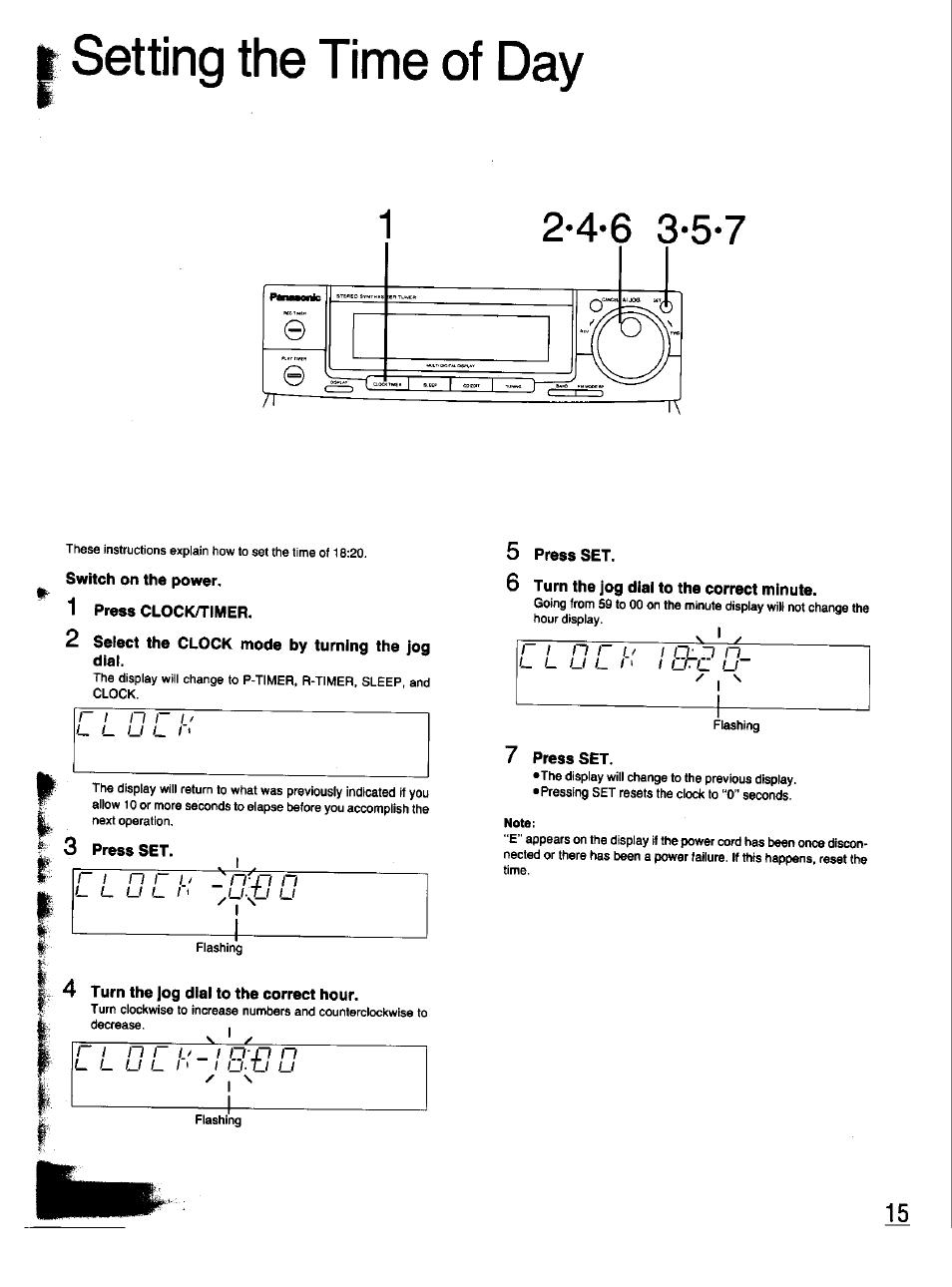 setting the time of day switch on the power 1 press clock timer rh manualsdir com Panasonic Manual Ra 6800 Panasonic TV Manual