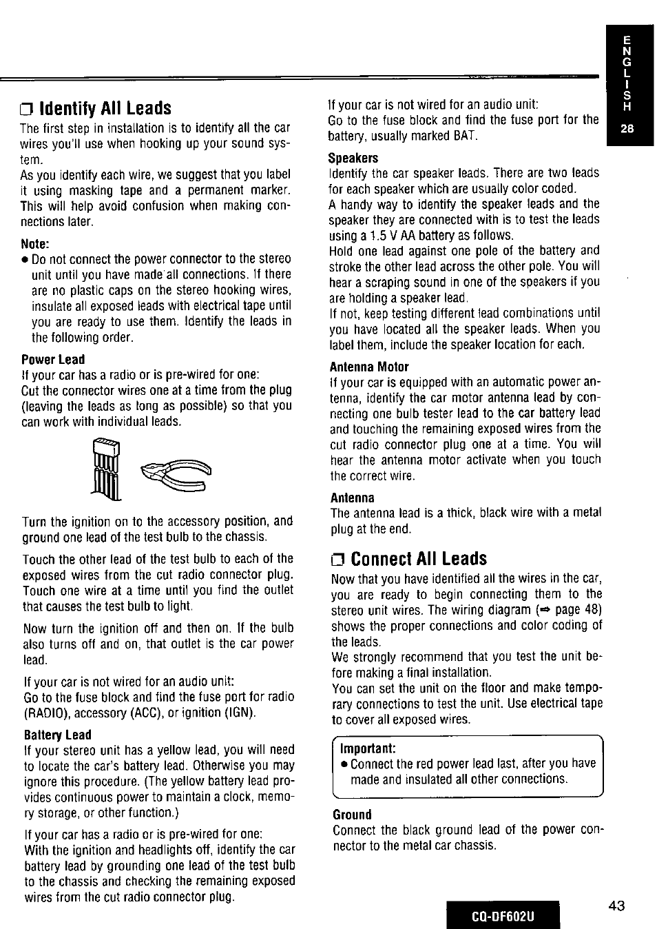 Identify All Leads Connect Panasonic Cq Df602u User Powercon Wiring Diagram Manual Page 43 124