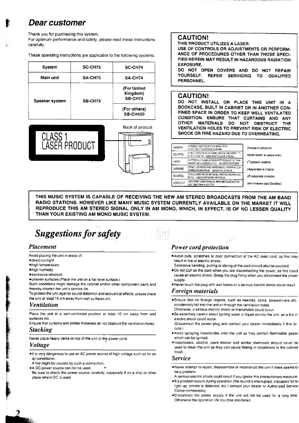 Suggestions For Safety Dear Customer Placement Power Cord Warning Electric Shock Could Occur If Used On Wet Surfaces Protection Panasonic Sc Ch75 User Manual Page 2 40