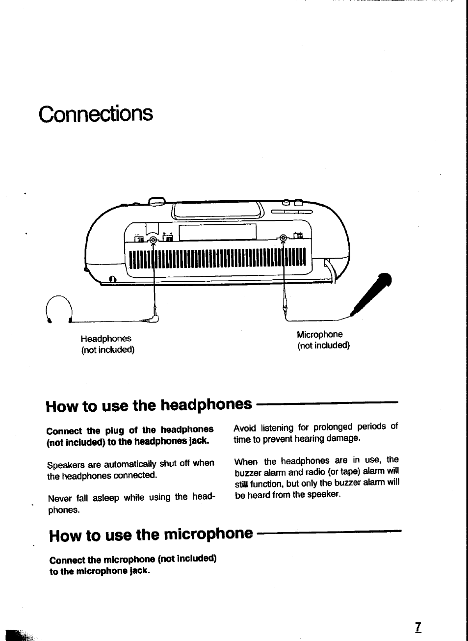 Connections How To Use The Headphones Microphone Mono Headset Jack Wiring Panasonic Rc X260 User Manual Page 7 28
