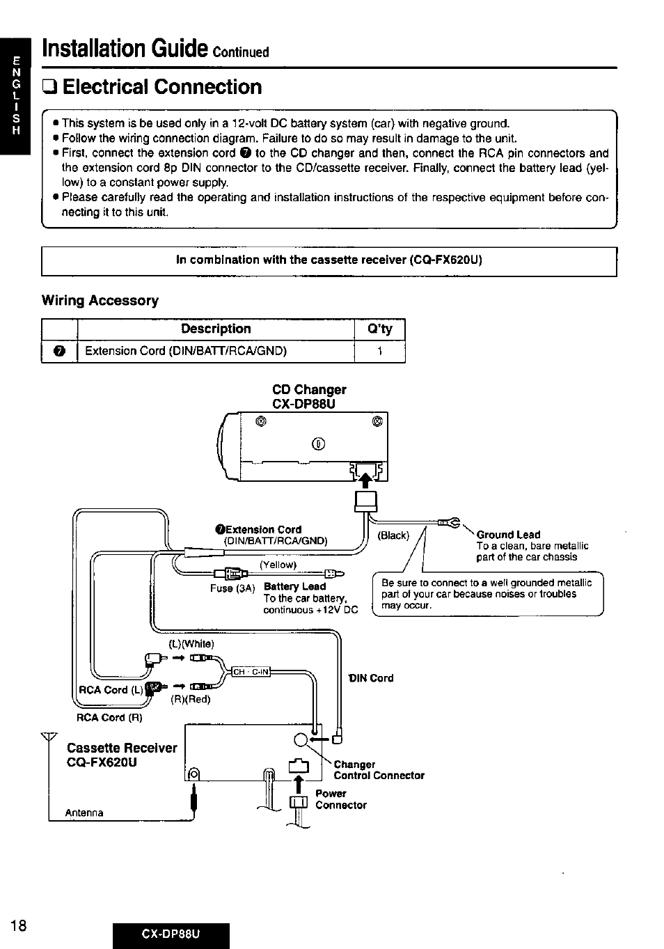 Electrical Connection Wiring Accessory Panasonic Cx Dp88u User Cd Diagram Manual Page 18 48