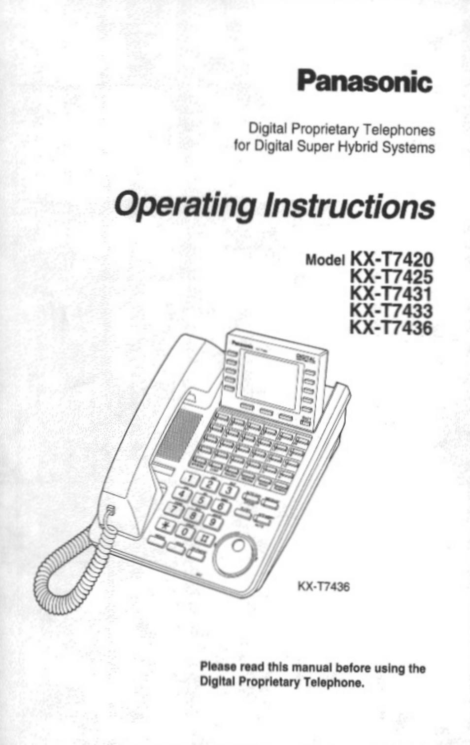 Panasonic kx-t7433 manuals.