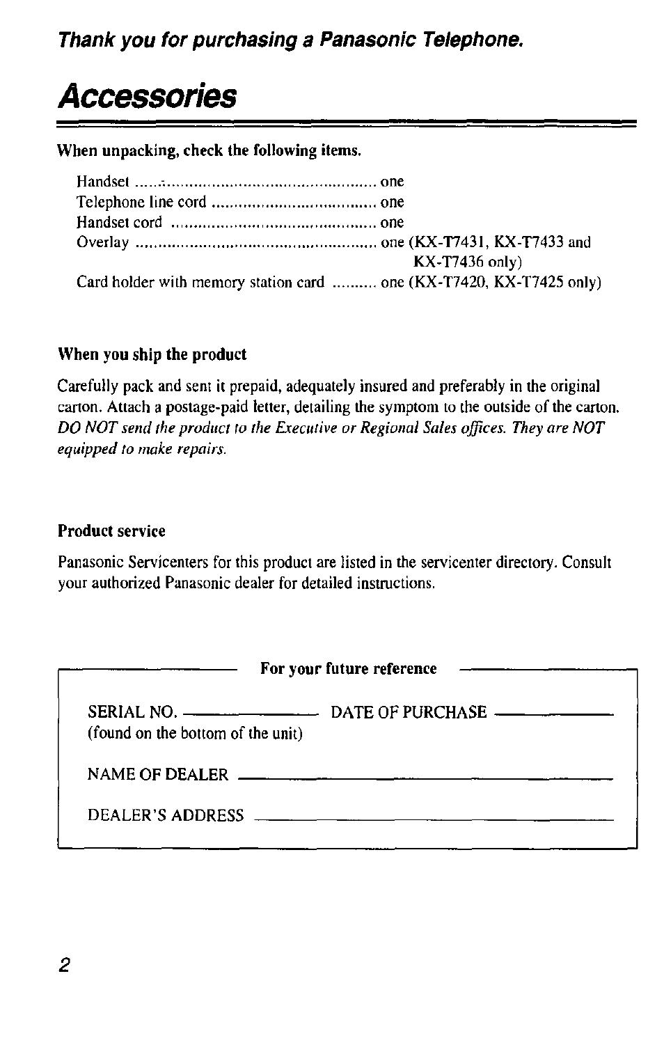 accessories panasonic kx t7433 user manual page 2 36 rh manualsdir com Operating Manual Panasonic Kx T7433 Operating Manual Panasonic Kx T7433