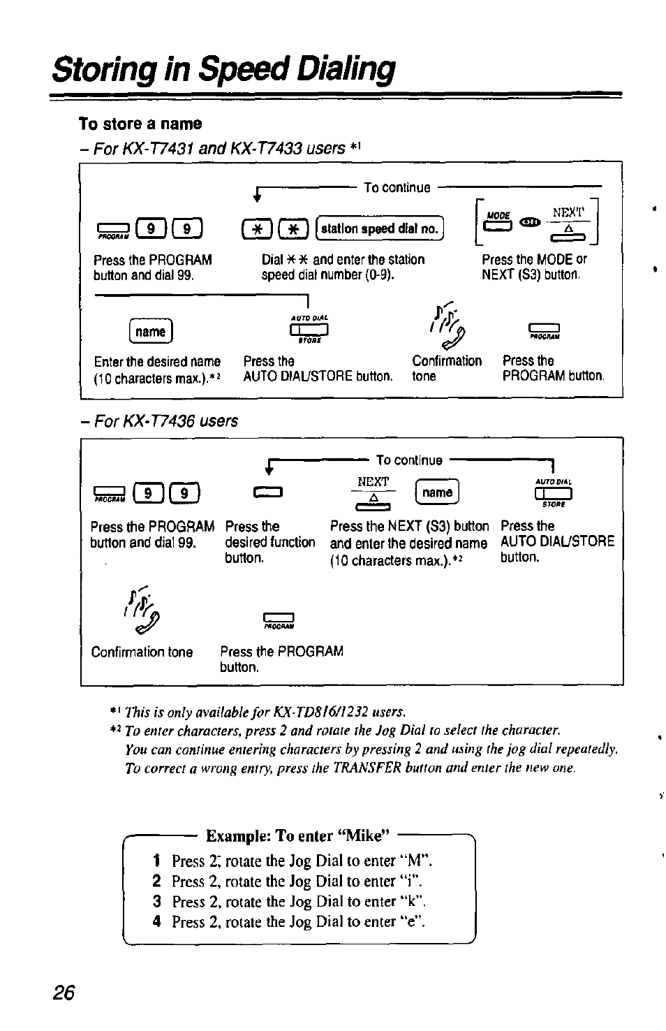to store a name storing in speed dialing example to enter u201cmike rh manualsdir com panasonic kx-t7433 instruction manual panasonic kx-t7433 instruction manual
