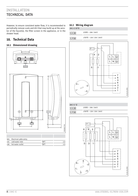 Installation Technical Data  Technical Data  1 Dimensioned