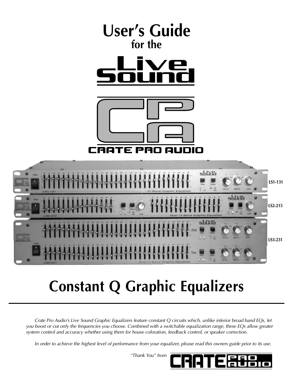 Crate Amplifiers Ls1 131 User Manual 12 Pages Also For Ls3 231 Equalizer Amplifier Circuit Ls2 215