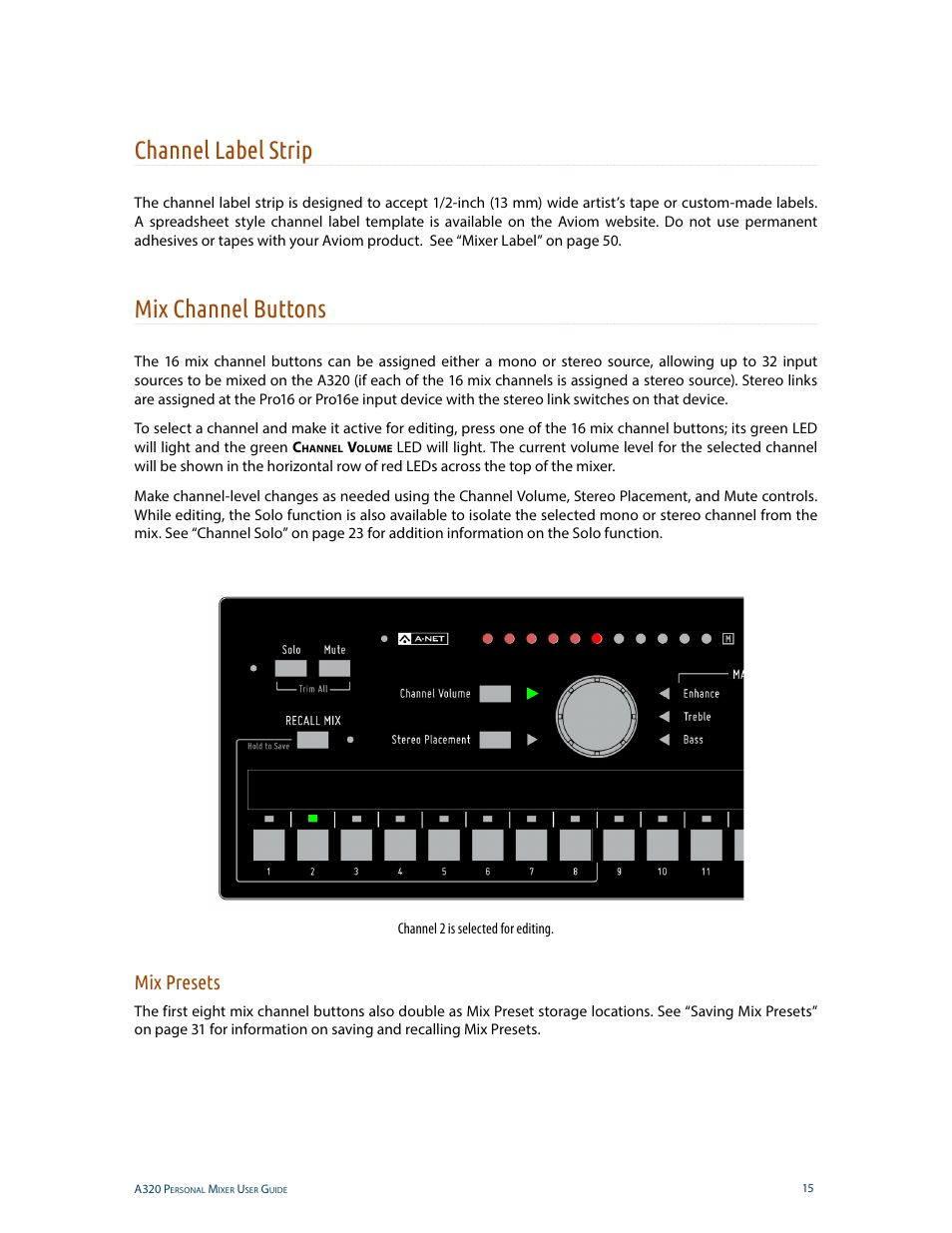 Channel label strip, Mix channel buttons, Mix presets | Aviom A320 ...