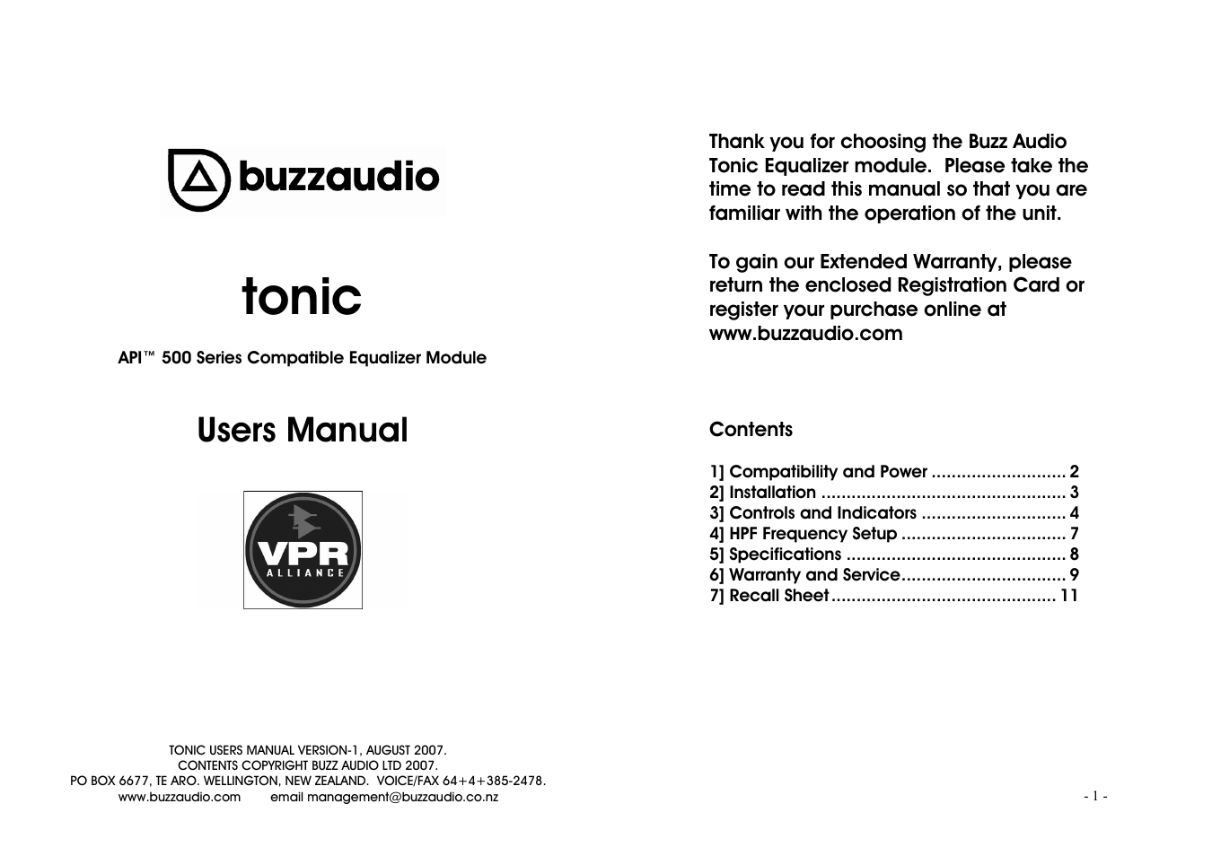 Buzz Audio Tonic 3 Band Equaliser User Manual 6 Pages Equalizer Control