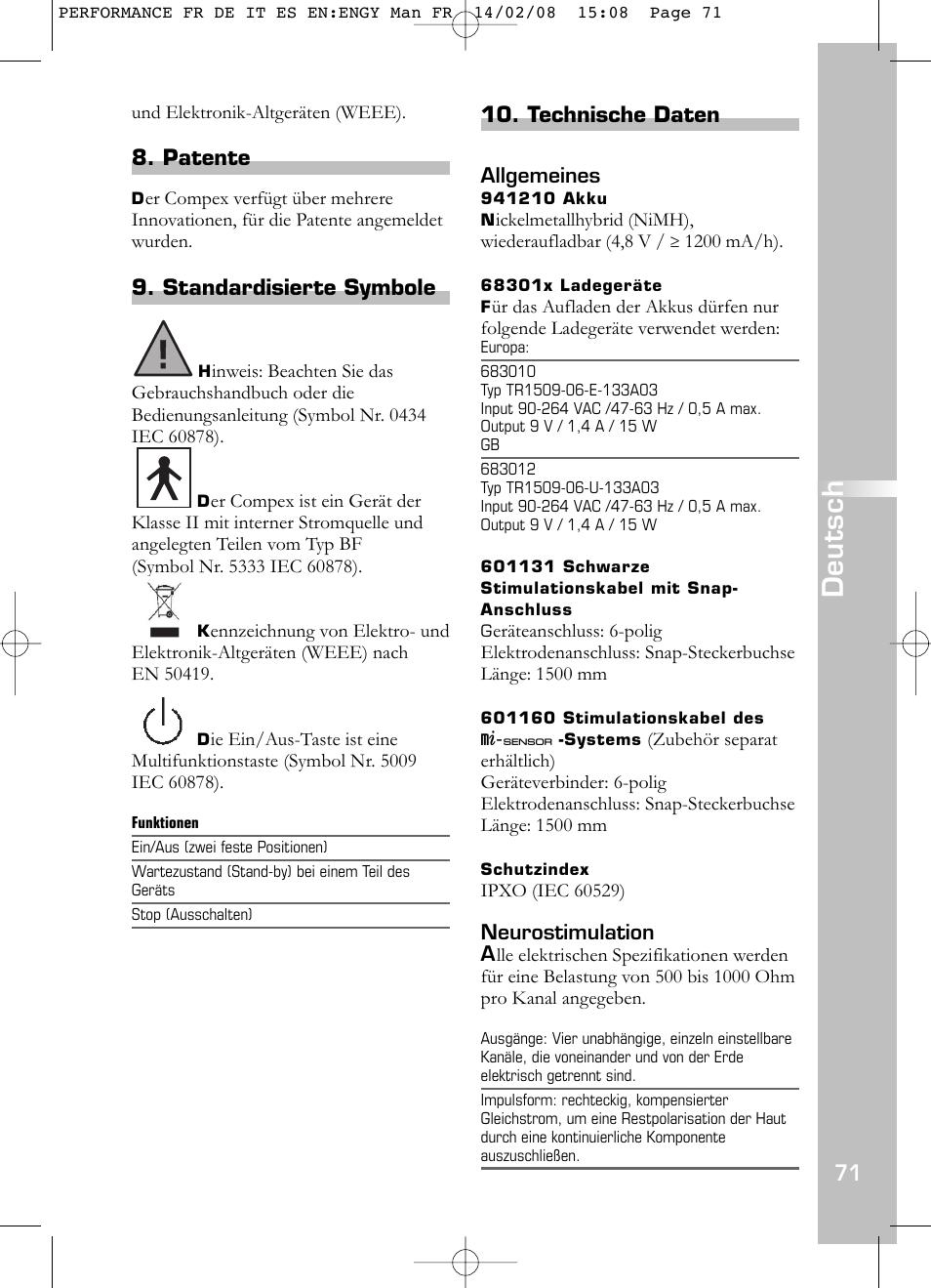 Deutsch, Patente, Standardisierte symbole | Compex Performance User ...