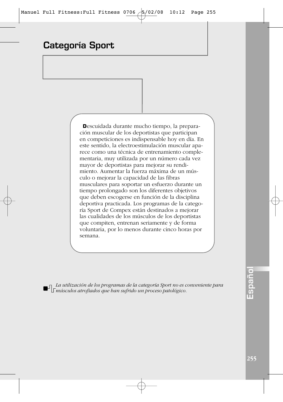 categoría sport, español compex full fitness user manual page