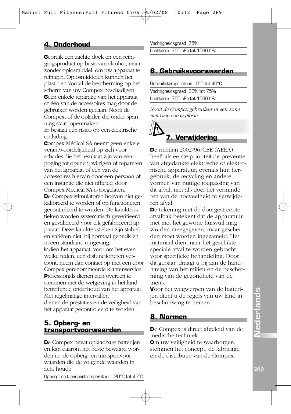 nederlands compex full fitness user manual page 269 321nederlands compex full fitness user manual page 269 321