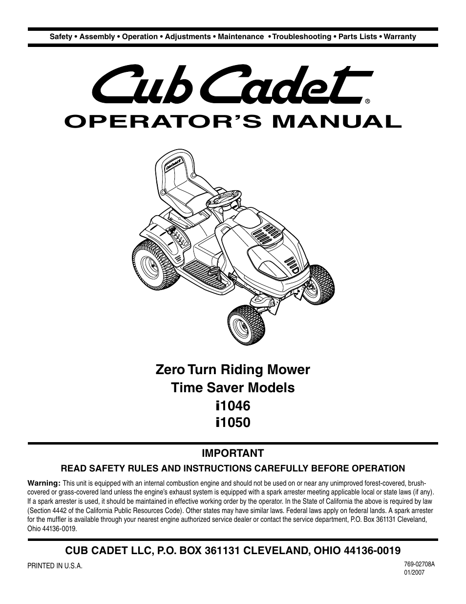 cub cadet i1050 user manual 36 pages also for i1046 rh manualsdir com cub cadet i1050 owners manual Cub Cadet I1050 Problems