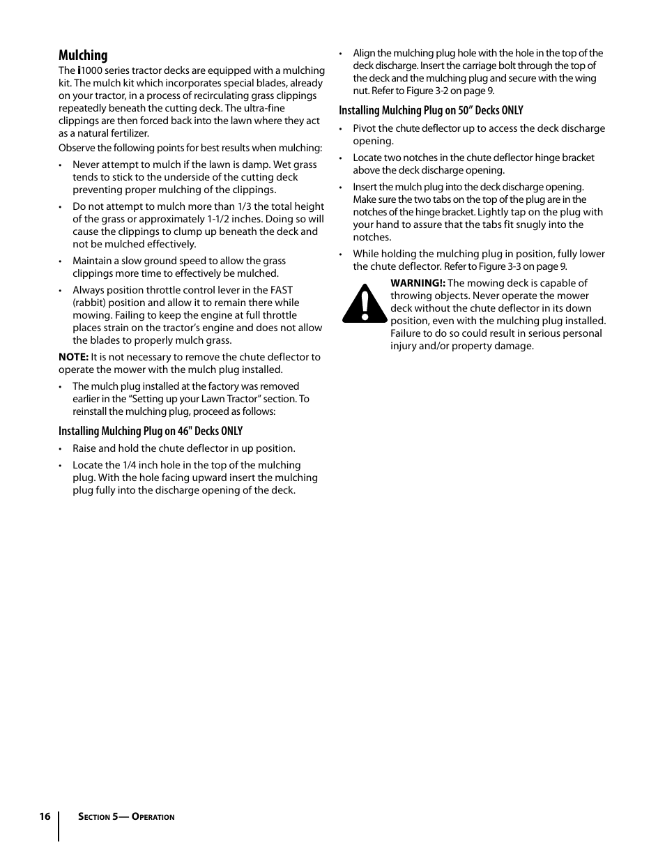 Mulching | Cub Cadet i1050 User Manual | Page 16 / 32