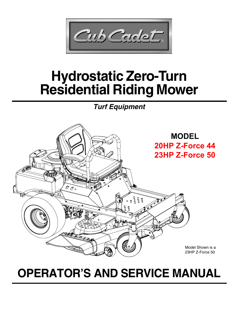Cub Cadet 23HP Z-Force 50 User Manual | 32 pages | Also for: 20HP Z-Force 44