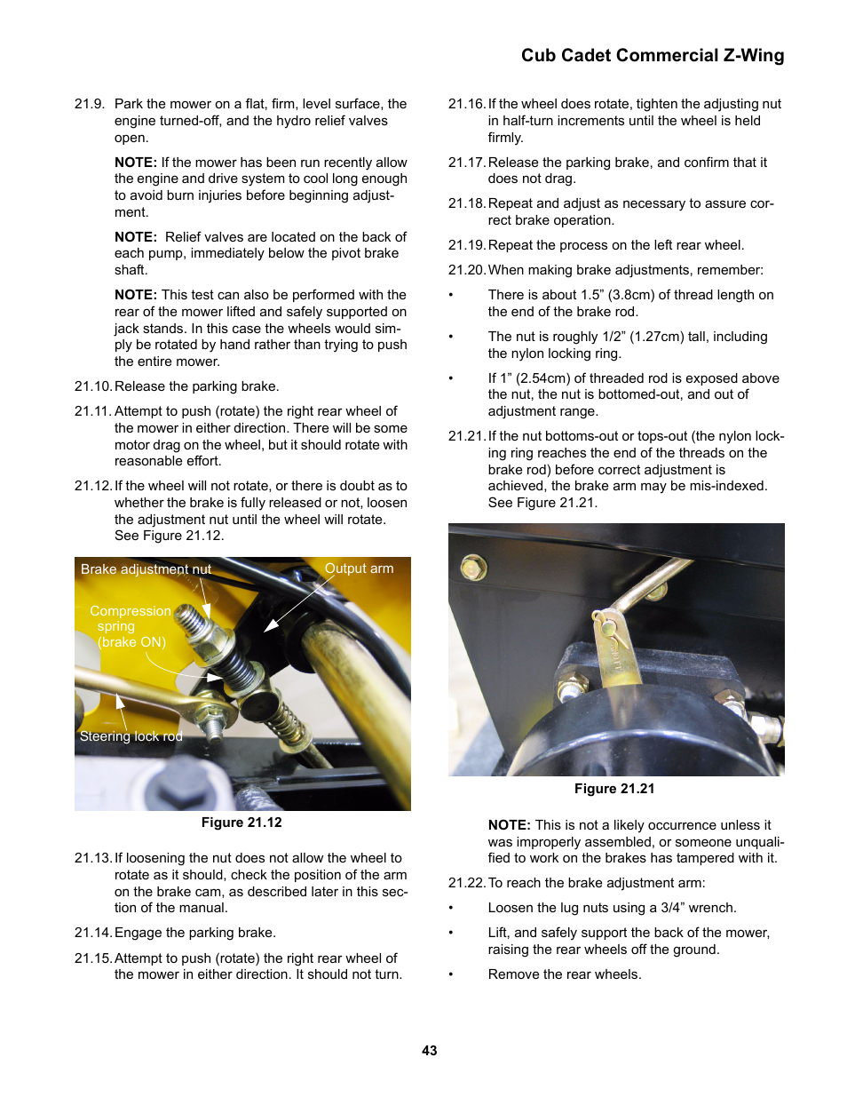 Cub cadet commercial z-wing | Cub Cadet Z-Wing User Manual | Page 47