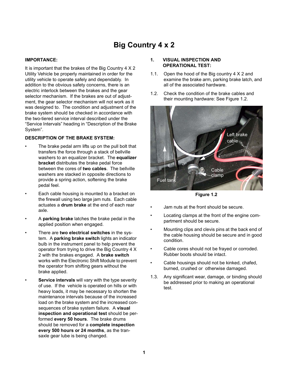 Big country 4x2, Description of the brake system, Visual inspection and  operational test | Cub Cadet 4 x 2 Big Country - Steel Bed User Manual |  Page 5 / 38
