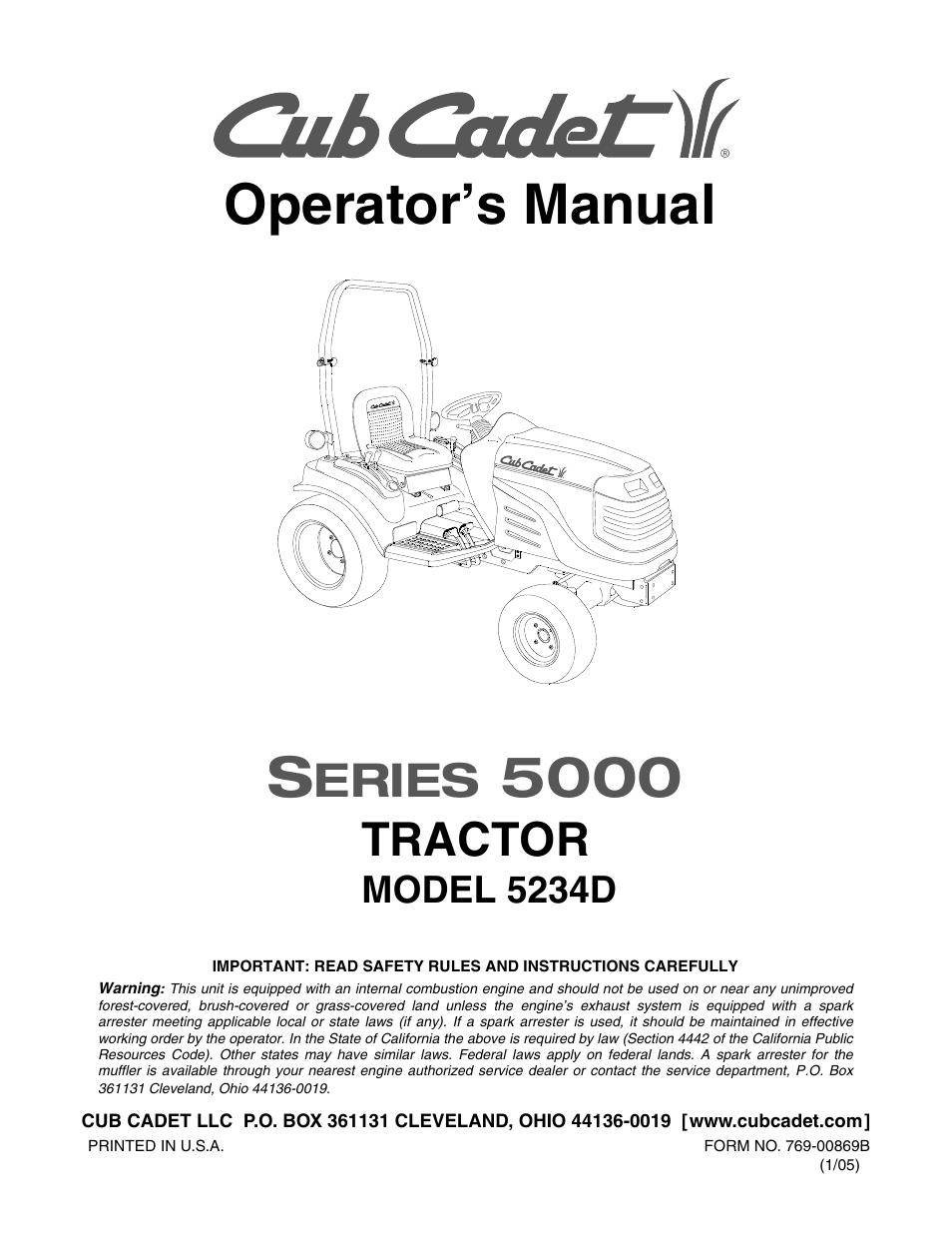 cub cadet 5234 user manual 48 pages rh manualsdir com Cub Cadet 5234D Transmission Cub Cadet Loader
