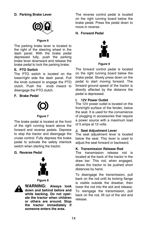 Warning | Cub Cadet GT-3100 User Manual | Page 14 / 44