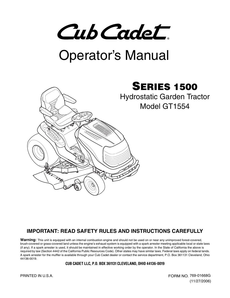 cub cadet gt 1554 manual enthusiast wiring diagrams