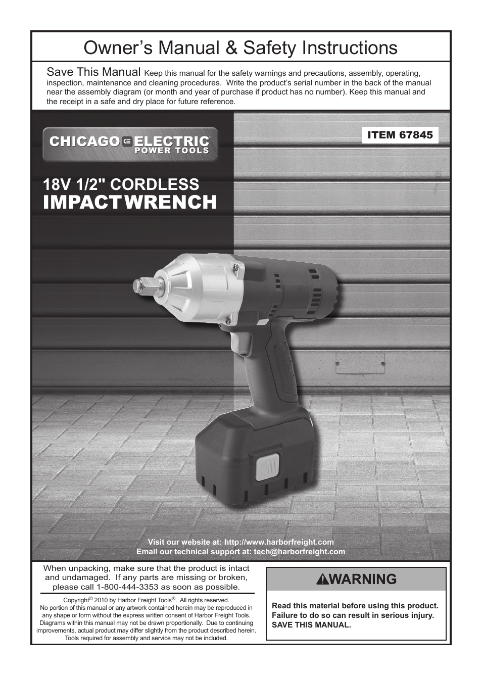 Chicago Electric 67845 User Manual | 16 pages
