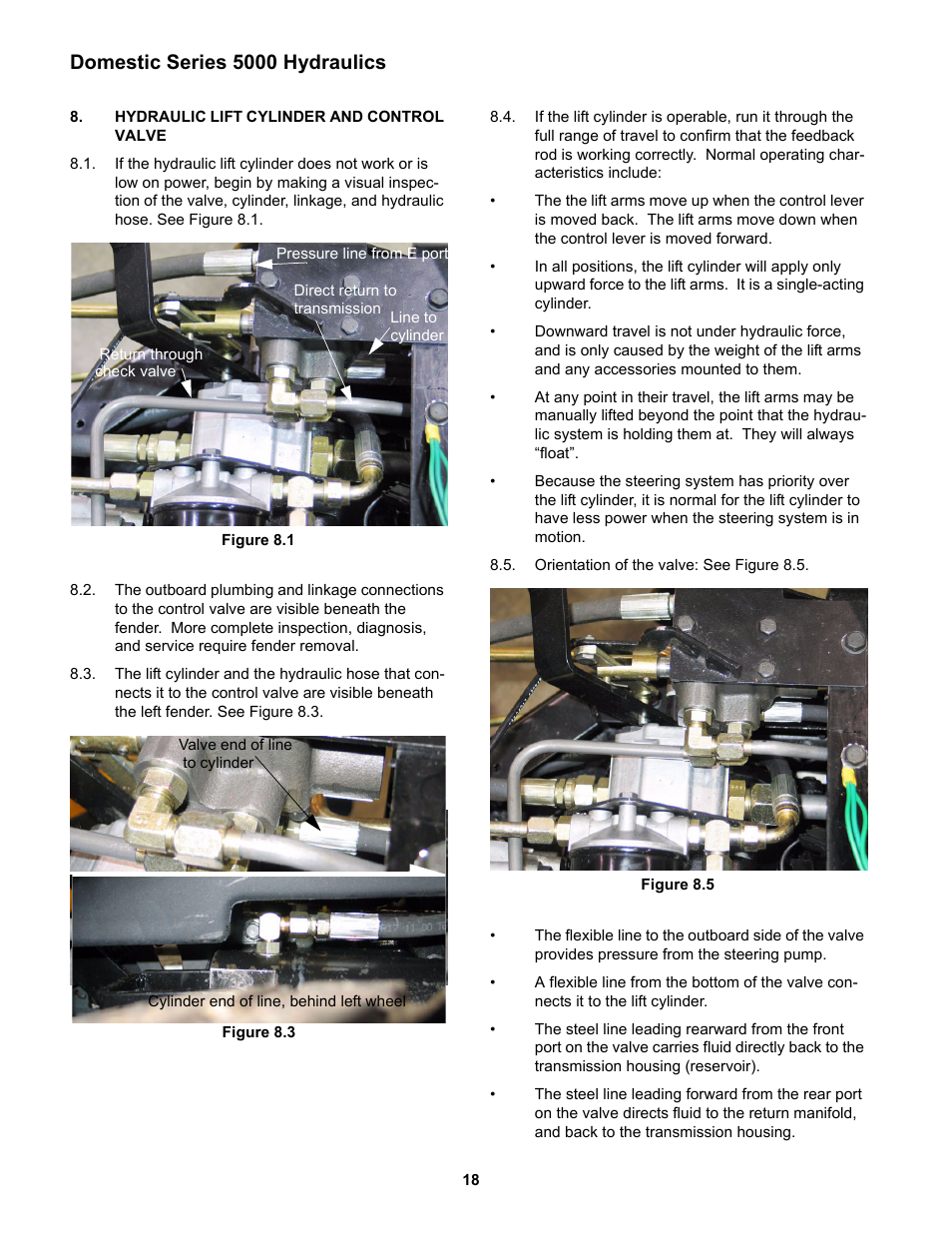 Hydraulic lift cylinder and control valve, Domestic series 5000 hydraulics  | Cub Cadet 5000 Series User Manual | Page 22 / 96