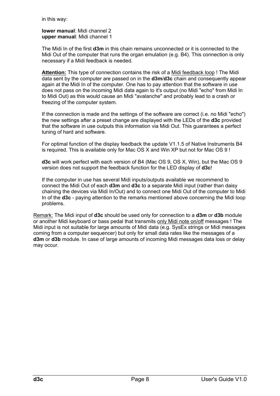 Doepfer d3c Midi/USB Organ Controller User Manual | Page 8 / 16